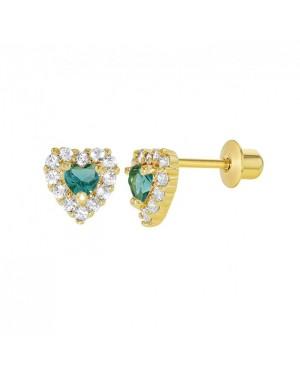 Brinco Coração em Ouro 18K com Esmeralda e Diamantes