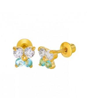 Brinco Borboleta em Ouro 18K com Água Marinha e Diamantes