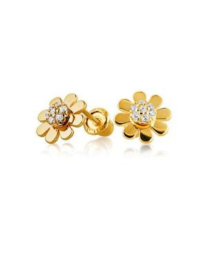 Brinco Flor em Ouro 18K e Diamantes