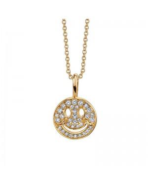 Colar Face Feliz em Ouro 18K e Diamantes