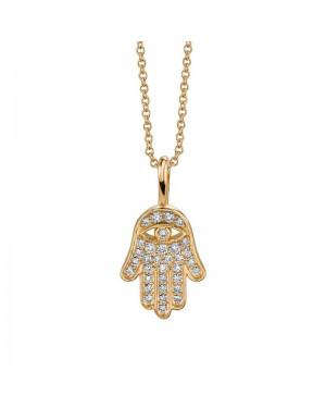 Colar Hamsa em Ouro 18K e Diamantes
