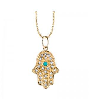Colar Hamsa em Ouro 18K com Turquesa e Diamantes