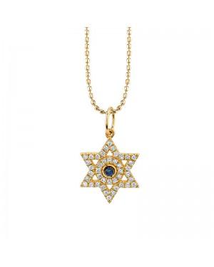 Colar Estrela de Davi em Ouro 18K com Safira Azul e Diamantes
