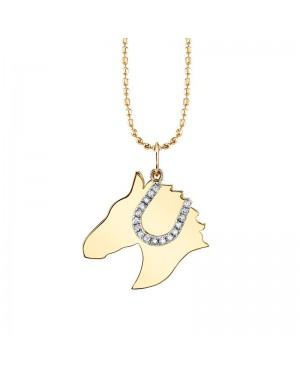 Colar Cavalo com Ferradura em Ouro 18K e Diamantes
