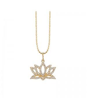 Colar Flor de Lotus em Ouro 18K e Diamantes
