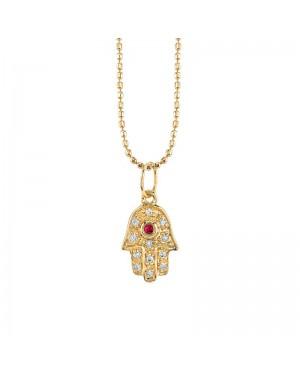 Colar Hamsa em Ouro 18K com Rubi e Diamantes