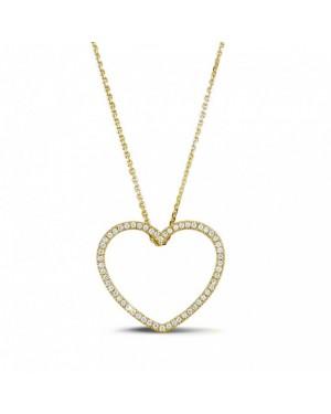 Colar com Pingente Coração em Ouro 18K e Diamantes