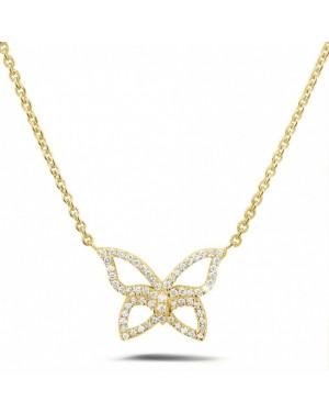 Colar com Pingente Borboleta em Ouro 18K e Diamantes