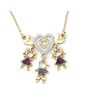 Colar com Pingentes em Ouro 18K com Rubi Safiras e Diamantes
