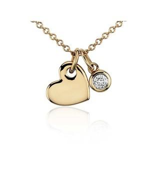 Colar Coração em Ouro 18K com Diamante