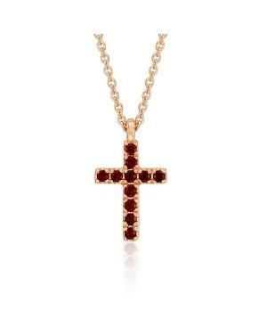Colar Crucifixo em Ouro Rosé 18K com Pedras Granada