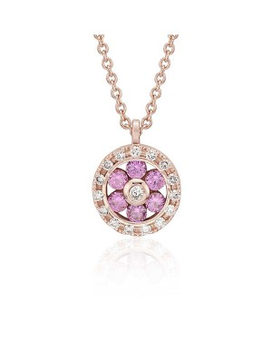 Colar em Ouro Rosé 18K com Safiras Pink e Diamantes