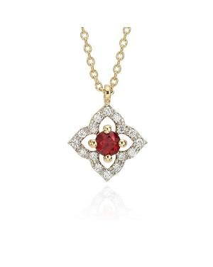 Colar Flor em Ouro 18K com Pedra Rubi e Diamantes