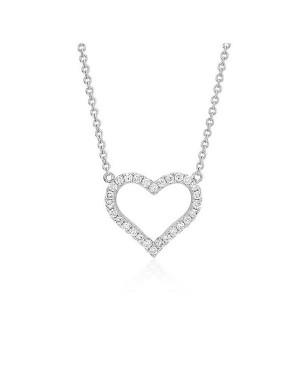 Colar Coração em Ouro Branco 18K com Diamantes