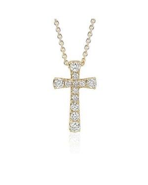 Colar Crucifixo em Ouro 18K com Diamantes
