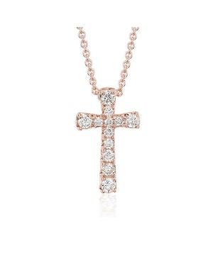 Colar Crucifixo em Ouro Rosé 18K com Diamantes