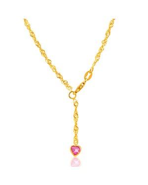 Tornozeleira em Ouro 18K Pingente Coração Safira Pink